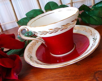 Aynsley Cup and Saucer, Burgundy Red, Gold Trim, Corset Shape, Gold Leaves, Made in England, 1930's, Bone China, Teacup, Tea ware
