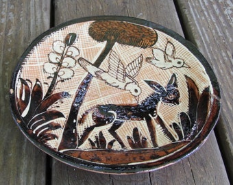 "1920-30s TOURISTWARE - RARE FIND Lucano Petatillo Dish 6-3/4"" - Traditional Folk Mexican Pottery - Burro, Birds and Flowers - Tlaquepaque"