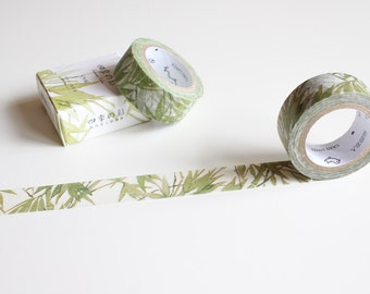 Bamboo Washi Tape, Nature Plants Leaf Tape, Green Washi Tape, Pretty Watercolour Tape (NT-100)