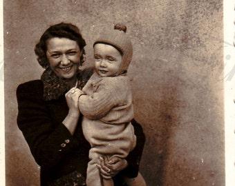 Vintage Photo - Family Portrait - Mother and son Photo - Vintage Snapshot - Polish Photo - Maternity Photo - 1943s Photo - WWII photo