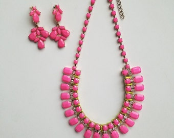 Retro and Unique! One of a Kind Vintage 1970's Hot/Bright Pink Adjustable Statement Necklace and Matching Dangle and Drop Earring Set!
