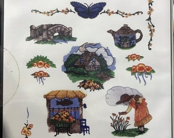12 Country Cottage machine embroidery designs on CDROM by Inspira