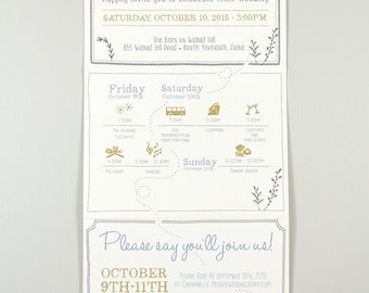 Rustic Herb Garden Trifold Wedding Invitation with Online RSVP and Envelope // Trifold Wedding Invite with wedding day timeline
