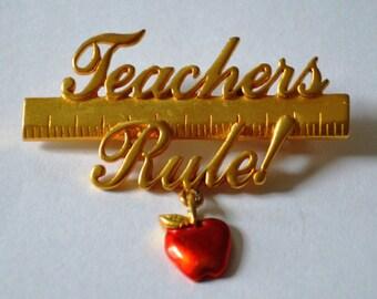 Vintage JJ Jewelry Signed Teachers Rule Red Apple Pin