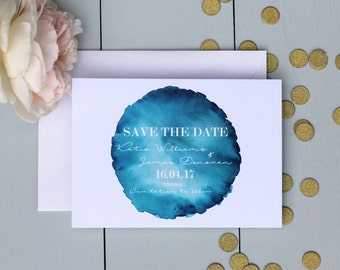 Wedding Save The Date Card, Watercolour Wedding Save The Date Invite, Blue Wedding Save The Date Card