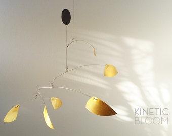 midcentury modern, calder mobile, brass mobile, kinetic art sculpture