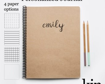 Kin Paper + Ink Large Custom Journal: Personalized Bullet Journal Notebook Custom Stationery Travel Journal, Personalized Diary Sketchbook