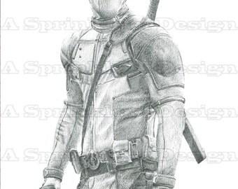 Deadpool Pencil Drawing Original