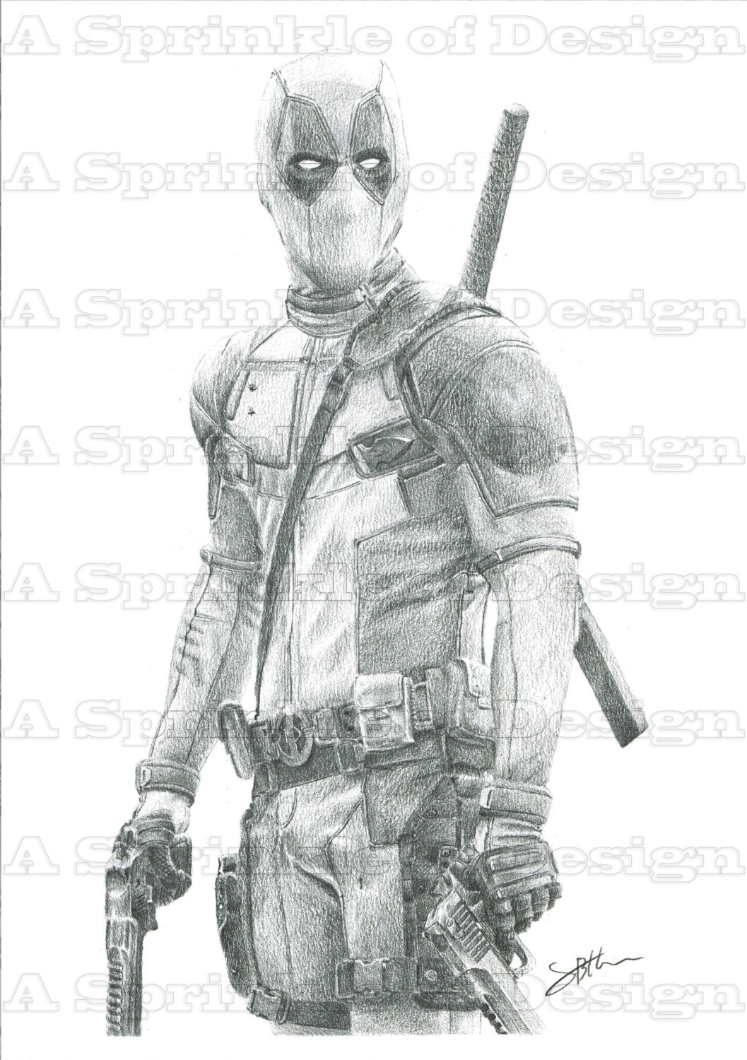 Deadpool matita disegno originale - Dessin deadpool ...