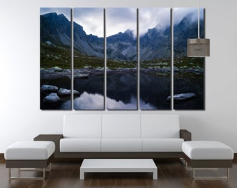 Large Wall Mountain & Lake Canvas Color Alps Multipanel Canvas Cloud Art Large Nature 1-3-4-5 Panel Wall Art Nature