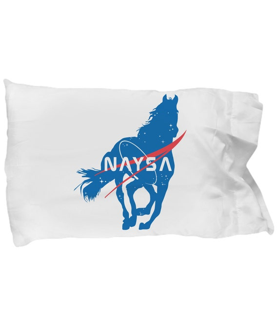 NAYSA Pillow Case - For horse loving rocket scientists ;) / Equestrian bedroom sleepwear / Horse gifts / Equine Accessories / Outer Space