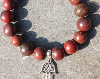 Bracelet women/girl semi-precious stones poppy jasper dark red with charm hand of Fatima, Hamsa, charm
