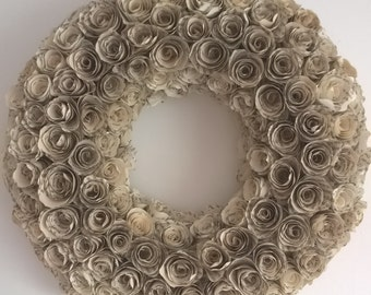Paper Rose Wreath / Wedding Wreath / Christmas Wreath