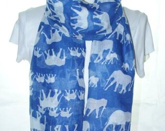 Blue elephant Scarf shawl, Beach Wrap, Cowl Scarf, blue elephant print scarf, cotton scarf, gifts for her
