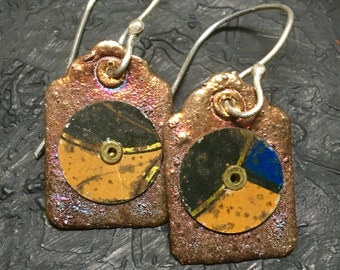 Vintage Tin and Fine Silver Tag Earrings