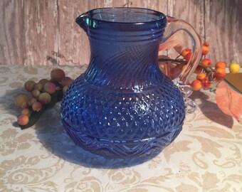 Pitcher Cobalt Blue Glass Vintage
