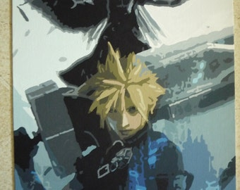 Cloud and Sephiroth Painting