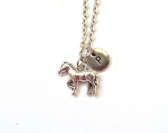 Horse Necklace, Charm Necklace, Horse Charm, Personalized Initial Necklace, Horse Initial Charm, Monogram Necklace (A20)