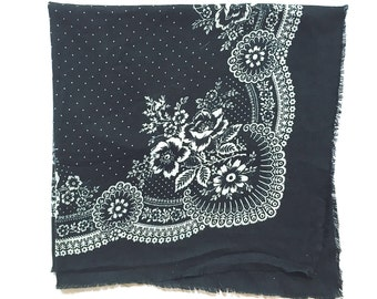 Vintage ECHO Scarf in Black and White Floral Motif