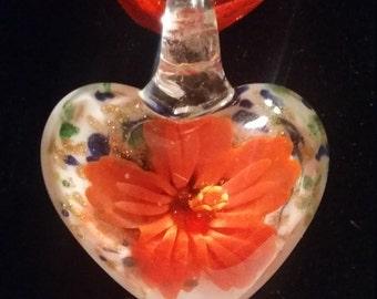 Glass Flower Heart Shape Necklace