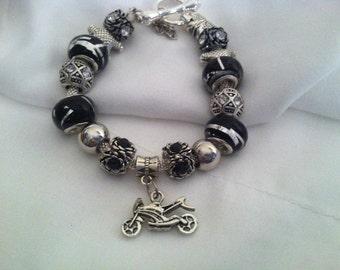 Pandora Like, Black Motorcycle European Charm Bracelet #201