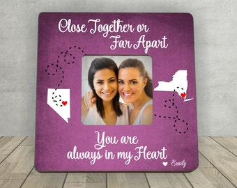 Gift for Friend, Christmas Gift for Friend, Friend Living Far away, Personalized Picture Frame, Friend Moving Away,Long Distance Friend Gift