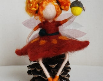 Waldorf inspired needle felted Autumn Fairy on Cone with acorn hand lantern