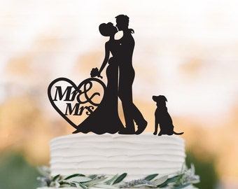 Wedding Cake topper with dog, bride and groom silhouette wedding cake topper with mr and mrs in heart cake topper, cake topper figurine