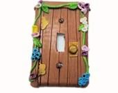 Fairy Door Switch Plate Cover - Flower Light Switch Cover - Polymer Clay Switchplate Cover - Girls Room