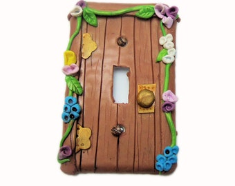 Fairy Door Switch Plate Cover - Flower Light Switch Cover - Polymer Clay Switchplate Cover - Girls Room