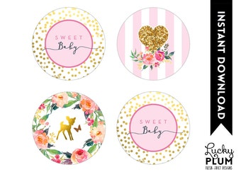 Deer Cupcake Topper / Woodland Cupcake Topper / Round Label / Bambi Cupcake Topper / Butterfly Pixie Garden Pink Gold DR01