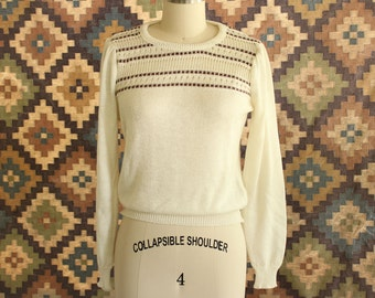 1980s vintage pointelle sweater, lightweight pullover . cream with brown stripes SALE