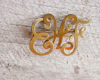 monogram initials brooch pin, EHF cursive letter . vintage gold letter brooch, brass plated