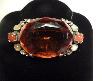 Celtic Style Brooch with Huge Stone Signed Miracle