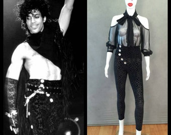 "MADE TO ORDER Prince ""Erotic City"" song inspired sheer top and high waist velvet ""brocade""-like leggings"