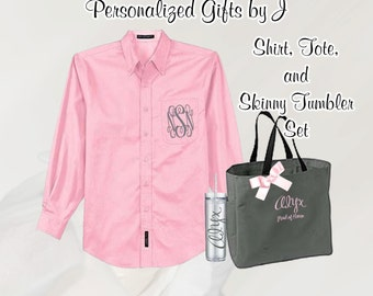 Personalized Bridesmaid Shirt, Tote, and Tumblers Set, Personalized Tumbler, Bridesmaid Gift Set, Bridal Party Gifts, Bridesmaids Totes