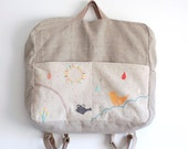 Diaper nappy backpack in natural linen, hand embroidered - rainbow - Lullaby Collection- OOAK
