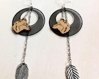 Wolf earrings/ Silver Leaf EArrings/ Wolf and Moon Earrings/ Bohemian Earrings
