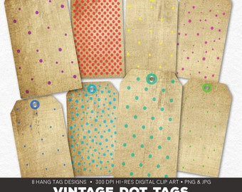 Digital Collage Sheet • Vintage Polka Dots Printable Hang Tags • 8 Instant Download Hangtag & Gift Tag Designs • JPG PNG