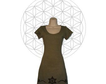 Organic Clothing - Organic cotton and Hemp Tunic/Mini Dress with Sacred Geometry print - Handmade to order with sustainable materials