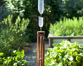 Wind Chimes Pastel Blue Sea Glass Sun Catcher with Large Copper Chimes windchime sea glass stained glass
