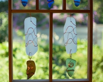 Sun Catcher Large Framed Sea Glass with Copper Suncatcher