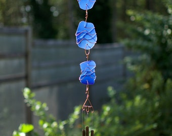 Wind Chime Blue Sea Glass Brass Chimes Suncatcher Windchimes