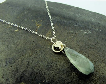 Gemstone Teardrop with Leaf, sterling silver and cat's eye gemstone necklace by Kathryn Riechert