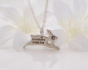 Silver Bunny Jewelry Rabbit Pendant Necklace Some Bunny to Love - Bunny Necklace - Rabbit Jewelry - Bunny Rabbit Pendant