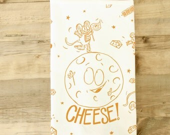 Moon Cheese Tea Towel Dish Towel Funny Cheese Obsessed Lover Theme Gift kitchen chef charcuterie outer space mice mouse silly illustration