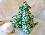Stuffed Christmas Tree - Vintage Green and White Fabric - Medium - 3D Tabletop Christmas Tree Centerpiece