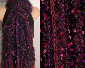 Hand Knit Gypsy Scarf pink purple black brown red blue gray boho