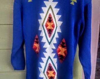 Vintage Anne Klein Aztec Southwest Woven Sweater Size M