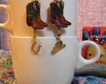 Cowboy Boot Earrings Cowgirl Country Western Square Dance Kitsch